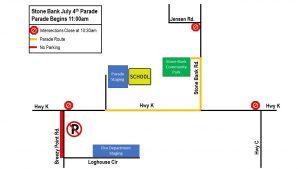 Stone Bank July 4th Parade Map